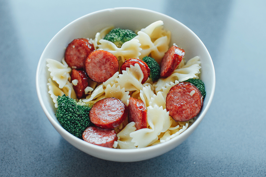 Pasta with broccoli, italian sausage and parmesan cheese