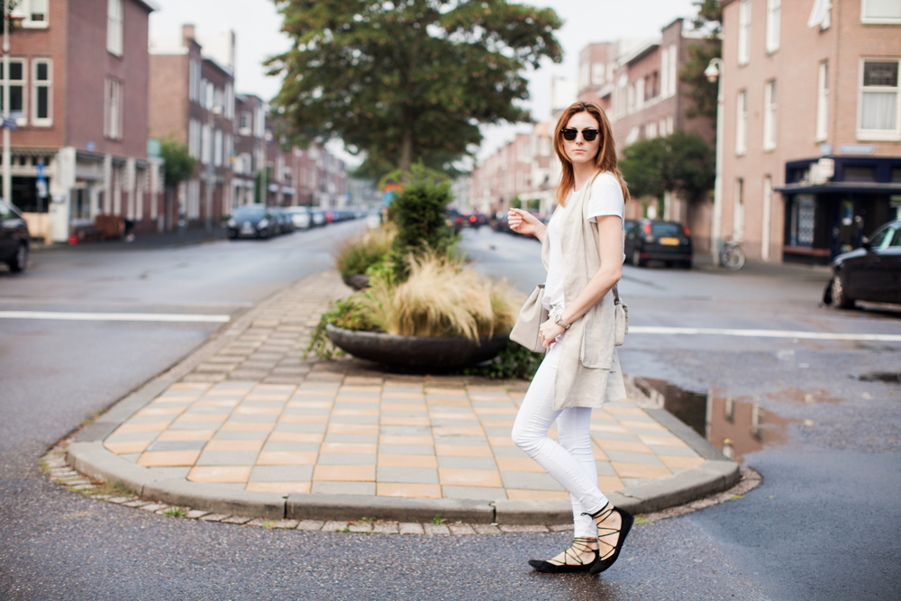 Cute Outfits for Running Errands, styling tips featured by top US fashion blog, Tea Cups & Tulips: image of a woman wearing a Nude and white outfit