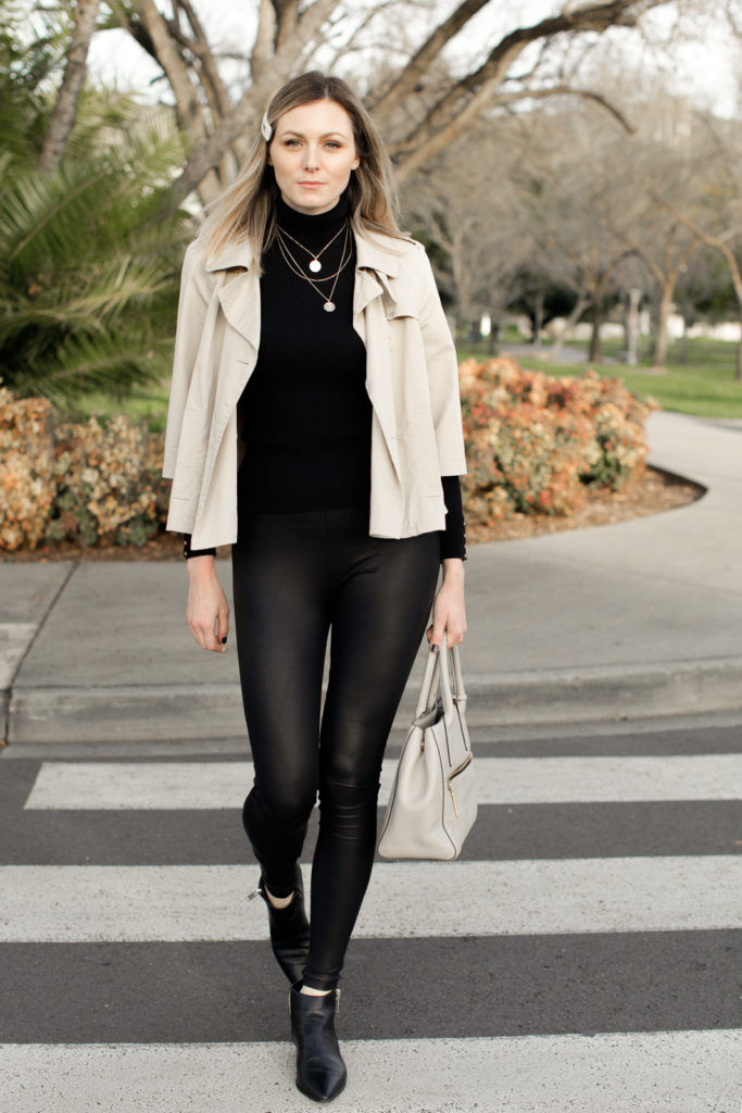 How to wear faux leather leggings, fashion tips featured by top US fashion blog, Tea Cups & Tulips