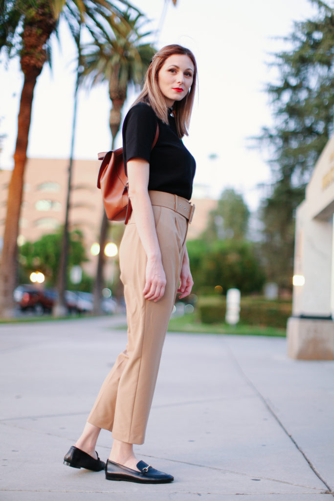 How to style paperbag pants for work
