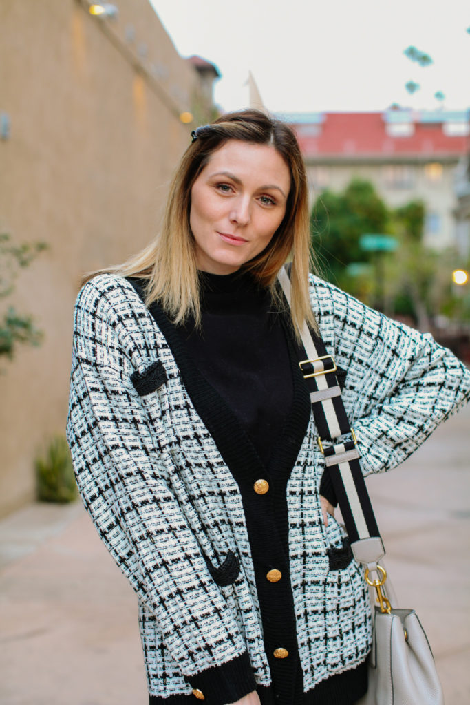 How to wear a cardigan without looking frumpy, tips featured by top L.A. fashion blog, Tea Cups & Tulips: image of a woman wearing a SheIn plaid cardigan