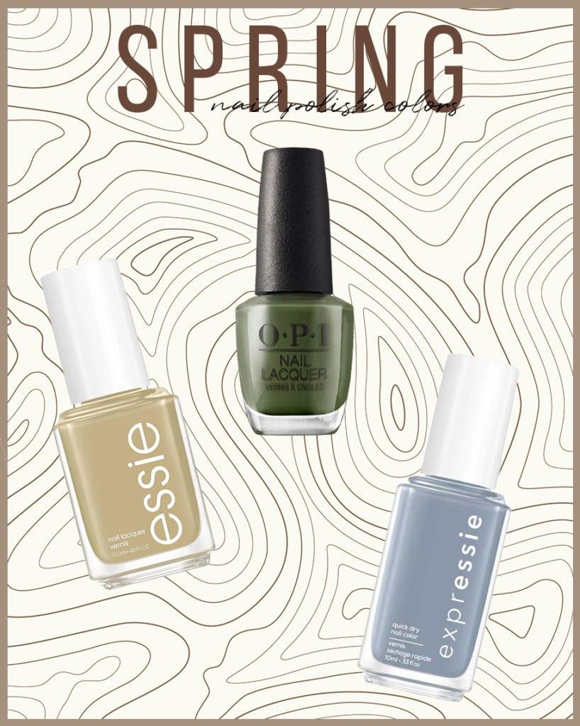 top 6 spring nail polish colors for 2021 | Spring Nail Polish Colors by popular LA beauty blog, Tea Cups and Tulips: Pinterest image of 3 nail polish bottles.